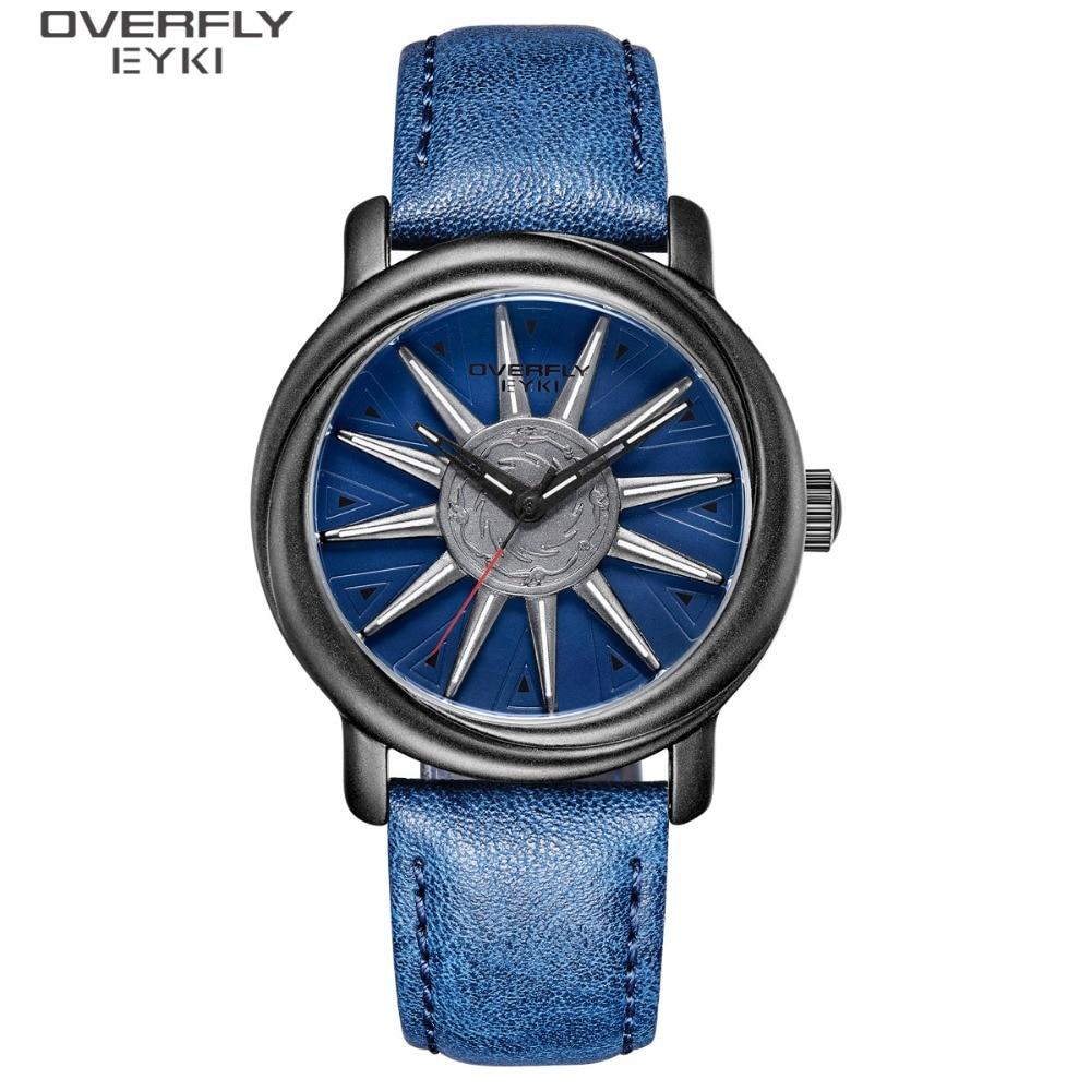 EYKI Brand Men Rotation Watches Man Watches Military Waterproof Men's Watch Male Trend Leather PU Trend Creative Wristwatch