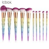 LCBOX Professional 10pcs Makeup Brushes Set 3D Unicorn Shape Shiny Rainbow Foundation Powder Cream Blusher Cosmetics