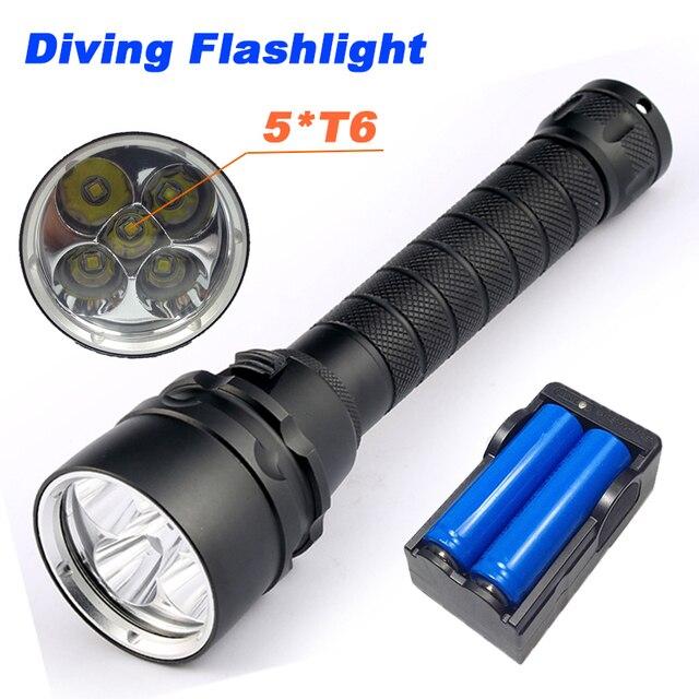 10000 Lumens Diving Flashlight Torch 5*T6 Diving LED Flashlight  200M Underwater Waterproof Light Tactical Flashlight Lantern