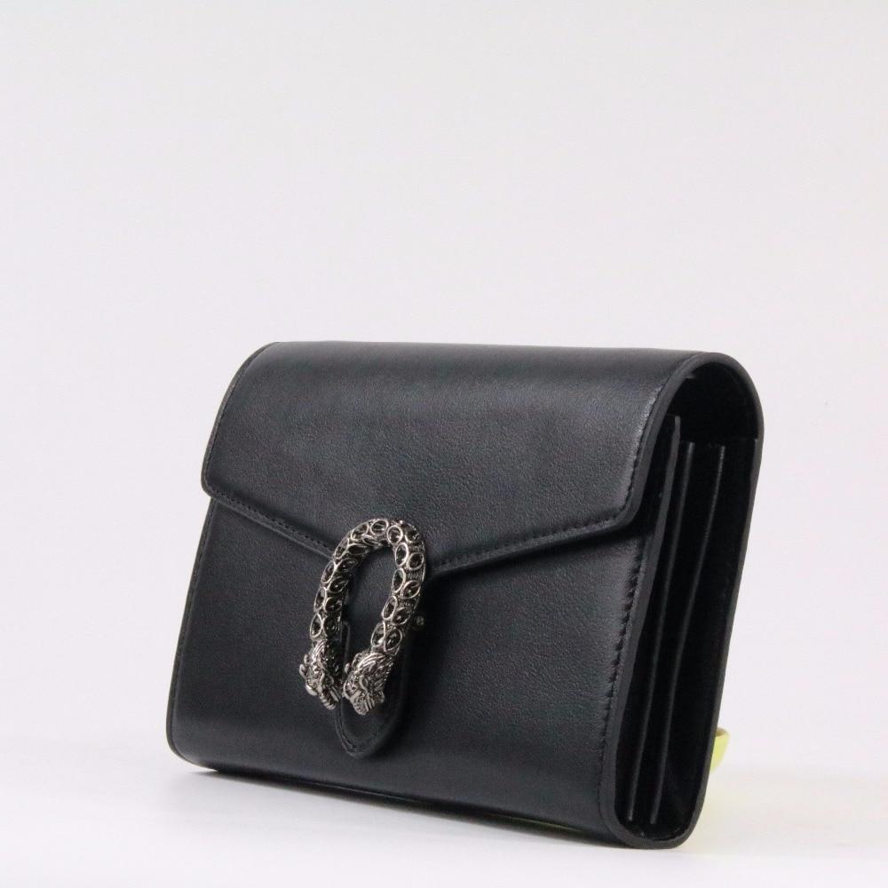 Genuine leather Brand Women Clutch Bag Classic Black Simple Chain Shoulder Bag Messenger Bag~18B6 247 classic leather