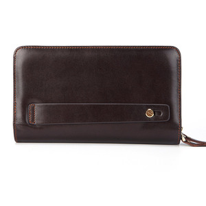 Image 2 - Business Genuine Leather Clutch Wallet Men Long Leather Phone Bag Purse Male  Large Size Handy Coin Wallet Card Holder Money Bag