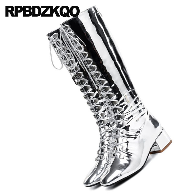 shoes silver patent leather riding knee high metallic 11 square toe 13 45  big size punk rock boots equestrian gold 12 44 chunky-in Knee-High Boots  from ... 414180ce952c