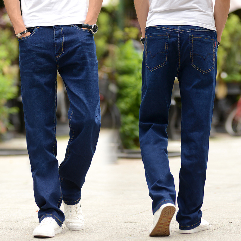 2019 Mens Fashion Hip Hop   Jeans   Casual Loose Ripped Mid Waist   Jeans   for Men Denim Straight Pants Plus Size