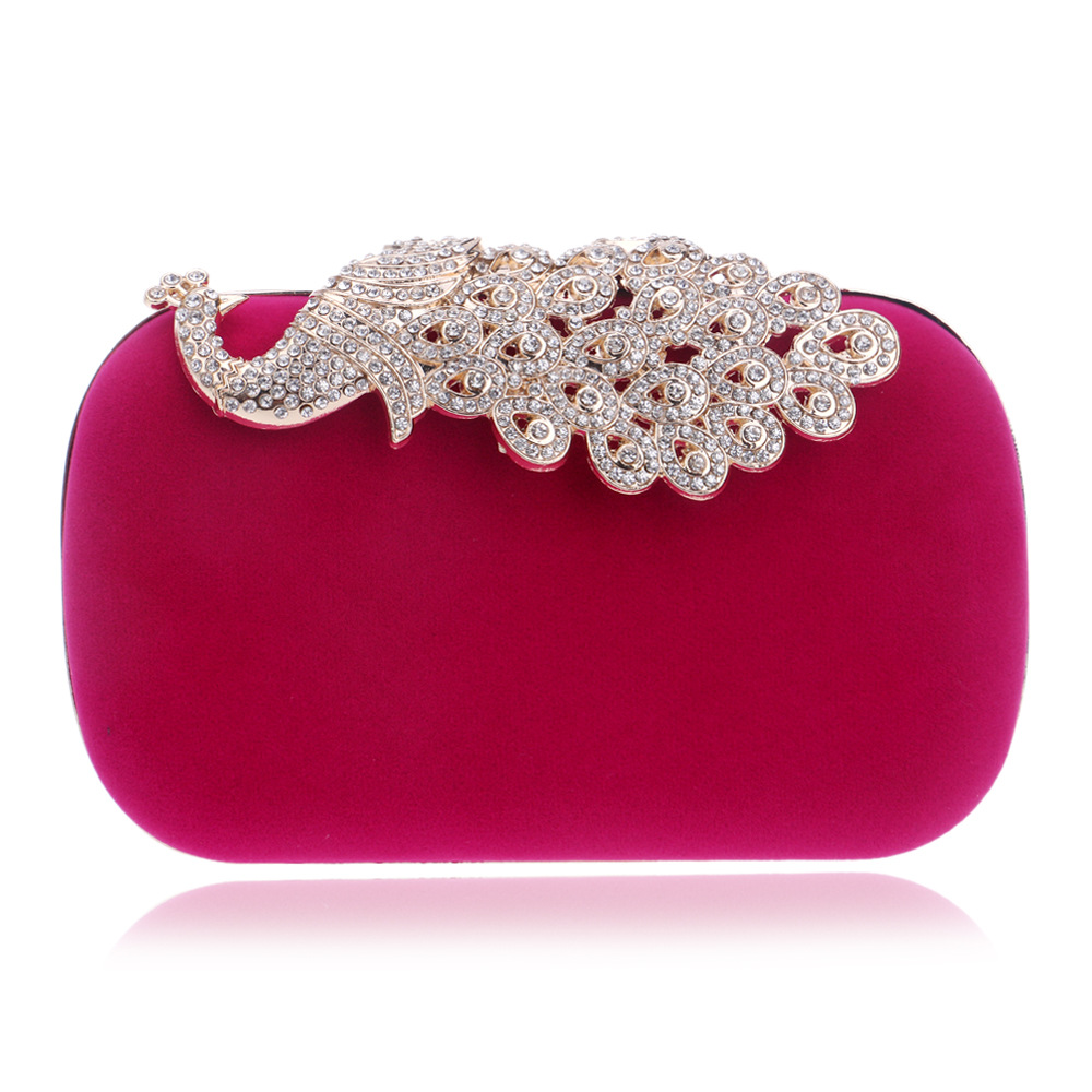 Day Clutches Metal-Peacock Diamonds Cross-Body Purse Bags Chain-Shoulder Evening-Bags