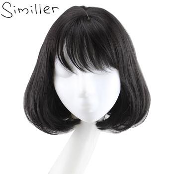 Similler kobiety syntetyczna peruka Bob z płaską grzywką czarne brązowe krótkie kręcone włosy Cosplay tanie i dobre opinie Wysokiej Temperatury Włókna CN (pochodzenie) 1 sztuka tylko Średnia wielkość