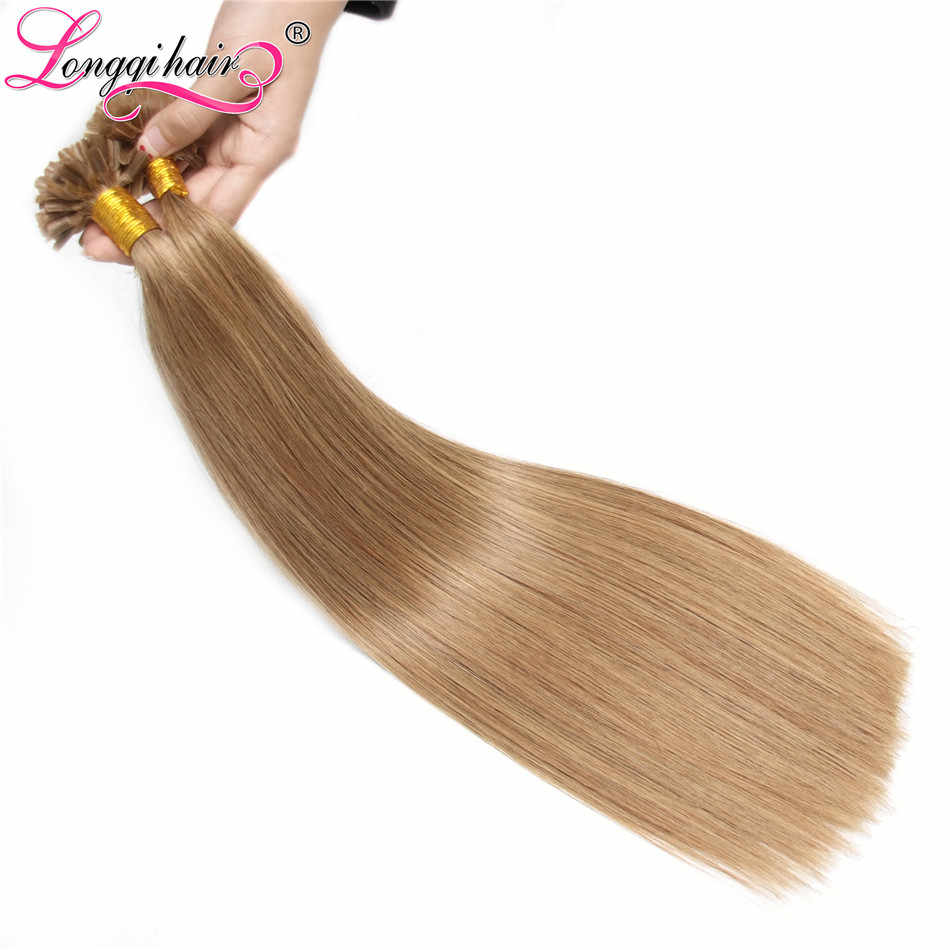 Longqi волосы предварительно скрепленные U Tip пряди человеческих волос для наращивания кератин клей для ногтей волос 0,5 г 1 г/локон 100 Пряди # 1b 1 2 4 12 27 60 613