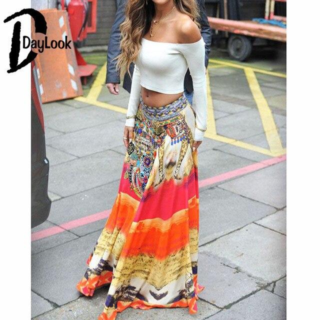 Daylook 2016 Summer Skirts High Waist Bohemia Print Wrap Split Pleated Maxi Skirt Elegant Vintage Long Skirt Saia
