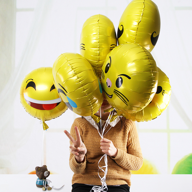 1pcs 18inch Expression Balloons Emoji Foil Ballon For Happy Birthday Party Emoticons Helium