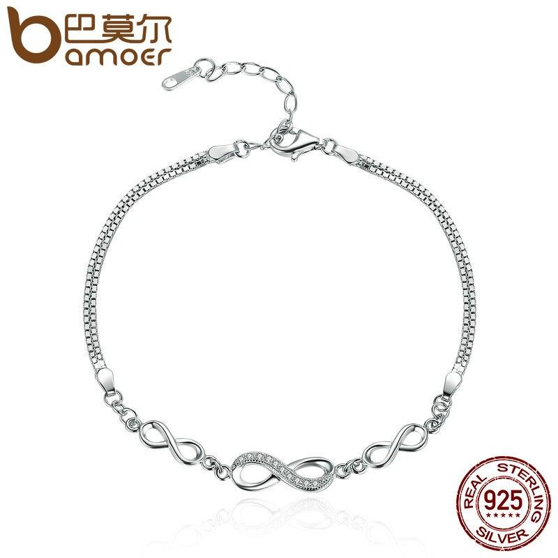 BAMOER Authentique 925 Sterling Argent Infinity Endless Love Chaîne Lien Réglable Femmes Bracelet De Luxe Bijoux En Argent SCB037