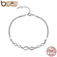 BAMOER Authentic 925 Sterling Silver Endless Love Infinity Chain Link Adjustable Women Bracelet Luxury Silver Jewelry