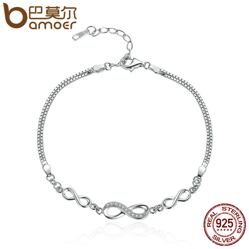 BAMOER Authentic 925 Sterling Silver Endless Love Infinity C