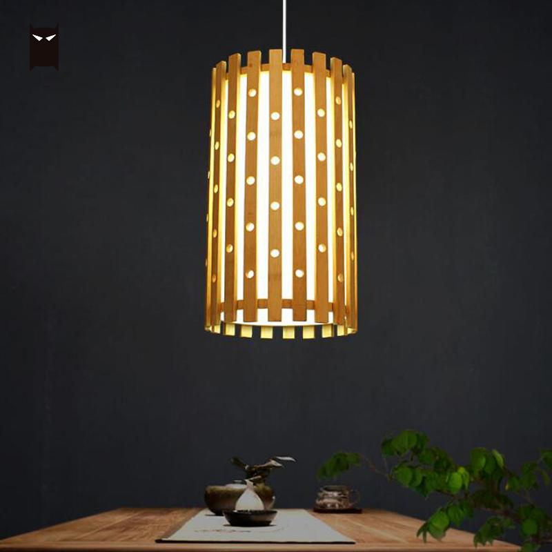 Bamboo Wicker Rattan Tube Hole Shade Pendant Light Fixture Vintage Asian Hanging Ceiling Lamp Design Dining Table Room E27 Bulb цены
