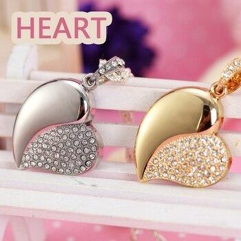 Jewelry Heart Pen Drive 64GB 32GB 16GB 8GB Diamond Crystal Heart USB 2.0 Flash Card Drive 64GB Pendrive Gift USB Flash Drive Key