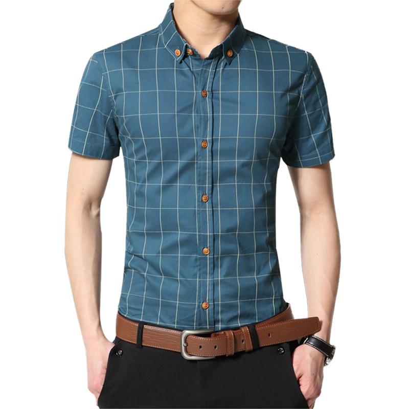 Fashion Brand Clothing Mens Short Sleeve Shirt 2019 Summer New Plaid Slim Fit Shirt CottonCasual Shirt Men 100% Clothes M-5XL
