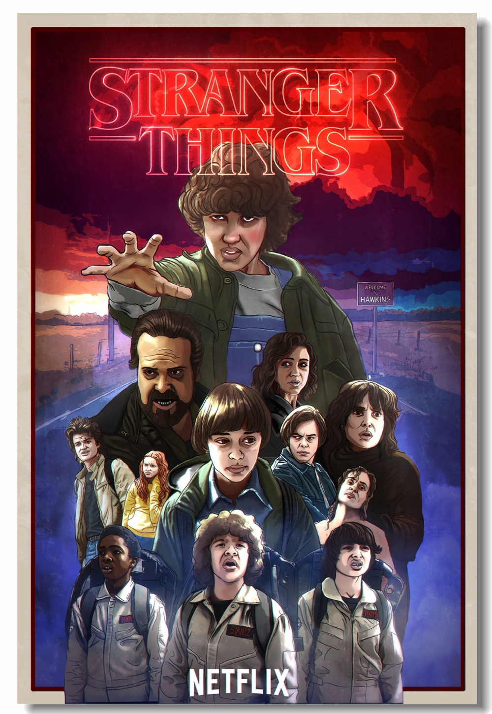 US $5 59 30% OFF|Custom Canvas Wall Painting Stranger Things Poster  Stranger Things TV Play Wall Stickers Mural Cafe Dining Room Wallpaper  #0231#-in