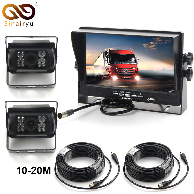 Sinairyu DC12 24V Truck Bus 7 Inch LCD Car Parking Monitor With Aviation joint 2 Ways