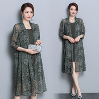 Natural 100% silk dress with cardigan 2 piece set army green dresses women Fashion Chinese vintage robe plus size 3xl clothes