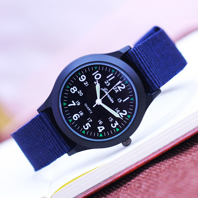 2018 fashion cool boys children canvas luminous hands quartz wristwatches men students sports for exzam electronic black clock