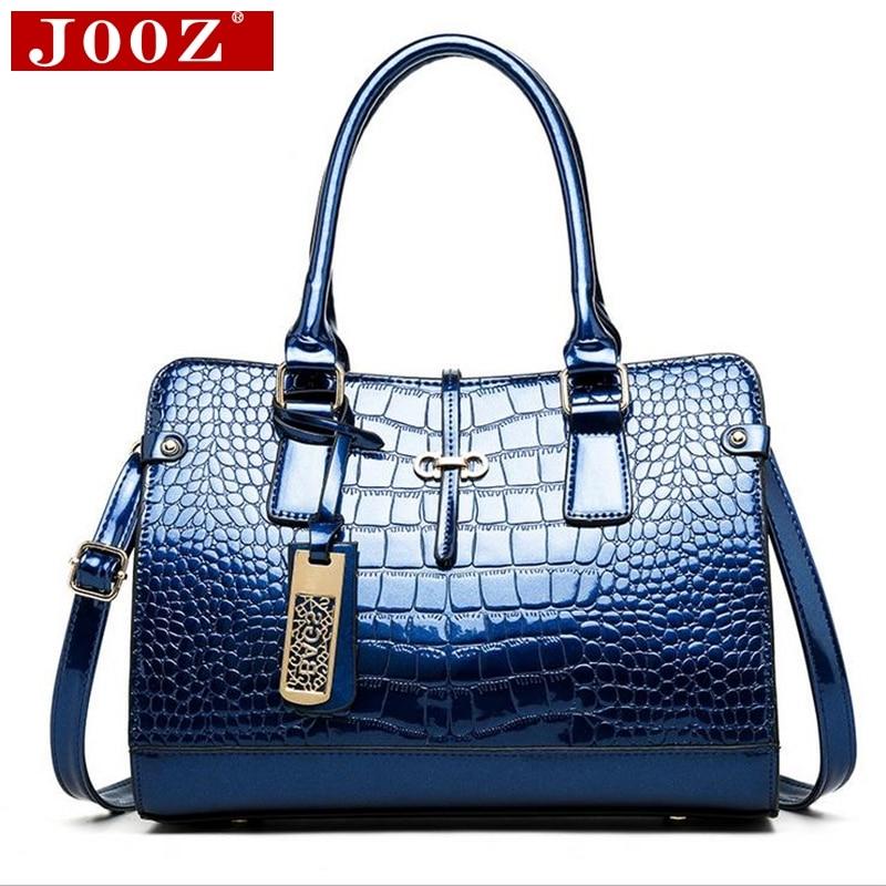 ФОТО JOOZ Luxury patent Handbag Crocodile leather Women bag Women messenger bags High capacity Ladies Hand Bags Bolsos Mujer