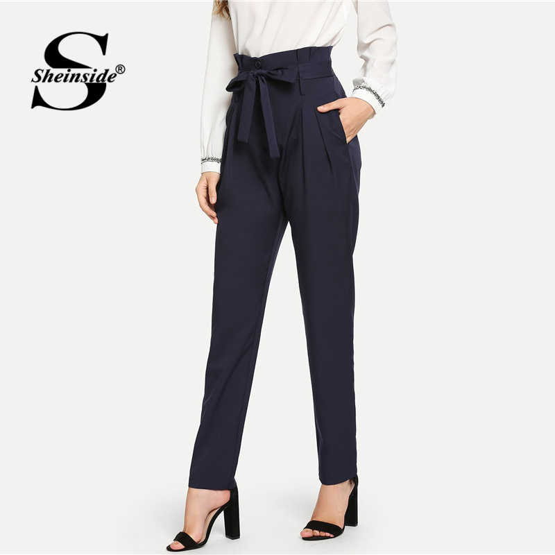 e4a45ebb ... Sheinside High Waist Belted Tailored Pants Women Elegant Workwear Pleated  Trousers 2018 Autumn Office Lady Navy ...