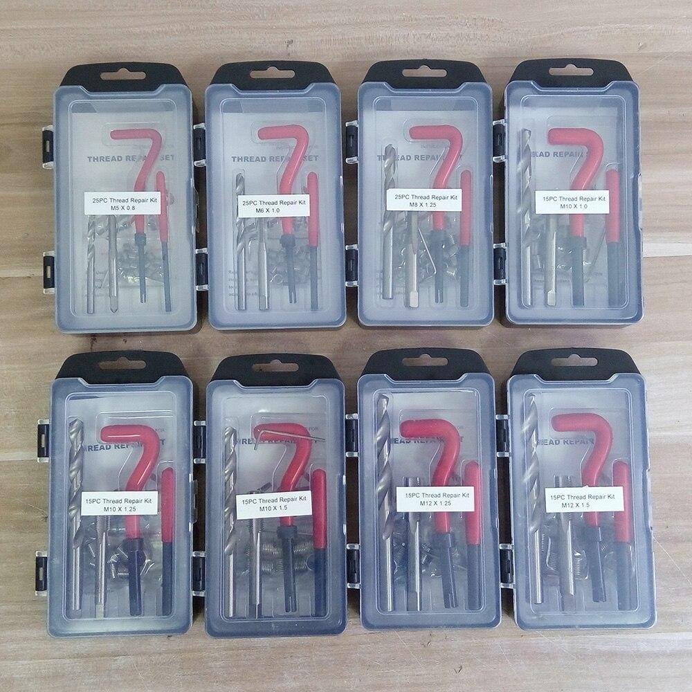 7 tipos de inserções de rosca recoil kit de instalação ferramenta reparo broca torneira m5 m6 m8 m10 m12 sk1051