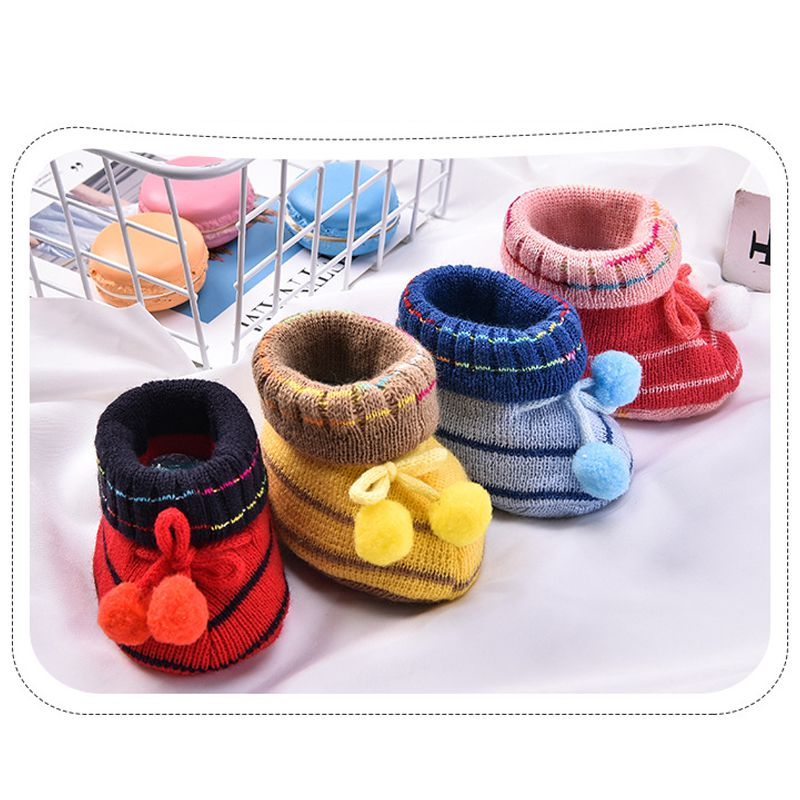 2018 Newborn Baby Socks First Walkers Baby Slippers Boot Infant Baby Girl Shoes Pure Hand Woven Wool Soft Shoes