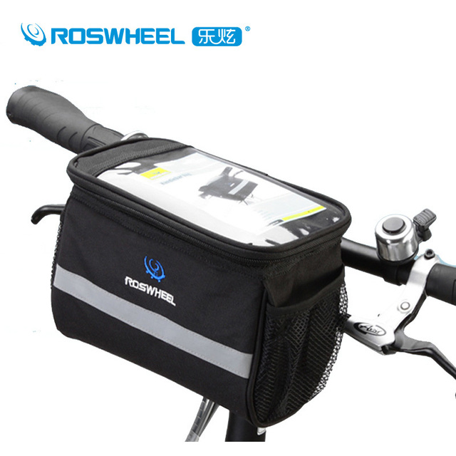 Roswheel Bike Bag Black Polyester Bicycle Cycling Handlebar Front Basket Phone Map Pouch