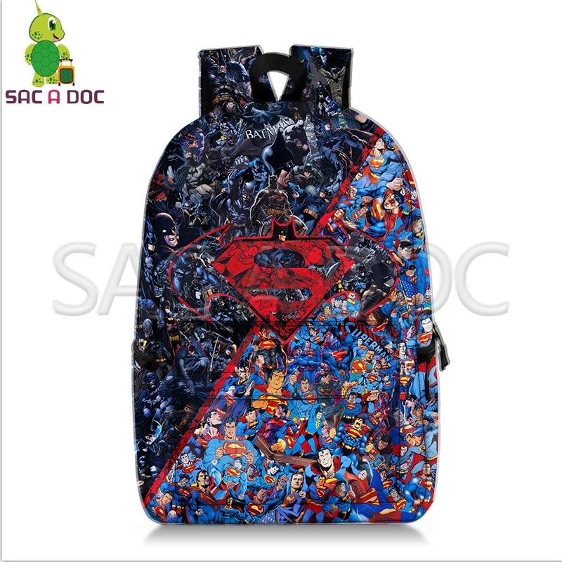 Batman VS Superman Collages Backpack Superhero School Bags for Teenage Girls Boys Fans Daily Backpack Kids Book BagBatman VS Superman Collages Backpack Superhero School Bags for Teenage Girls Boys Fans Daily Backpack Kids Book Bag