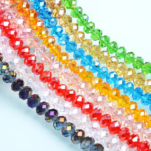 8mm Czech Loose Rondelle Crystal Beads For Jewelry Making Diy Needlework AB Color Spacer Faceted Glass Beads(China)