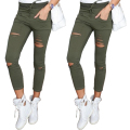2017 new spring and autumn women's high-elastic lulu leggings Slim was thin panty casual pants fashion Hole, trousers for women