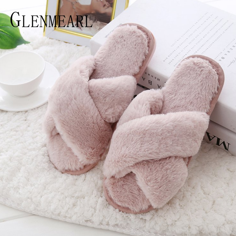 Women Slippers Winter Shoes Flat Sweet Home Slippers Woman Indoor Shoes Fur Warm Soft Slip On Black Pink Grey Female Slipper DE millffy 2018 new summer sweet ladies shoes pink girl home slippers cotton indoor slip on knot stripe slippers