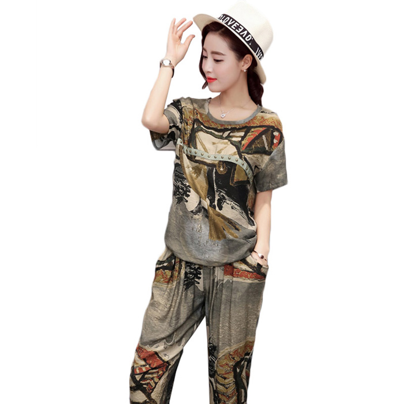 2018 Summer women clothes 2 piece sporting suits female short sleeve print t shirts pants sets