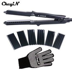 Image 1 - 4 ב 1 שיער קרלינג ברזל + חום עמיד כפפת קרמיקה שיער Curler רולר שיער חשמלי מחליק מלחץ גלי תלתל 42