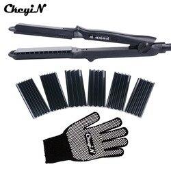 4 In 1 Hair Curling Iron+Heat Resistant Glove Ceramic Hair Curler Roller Electric Hair Straightener Crimper Corrugated Curl 40