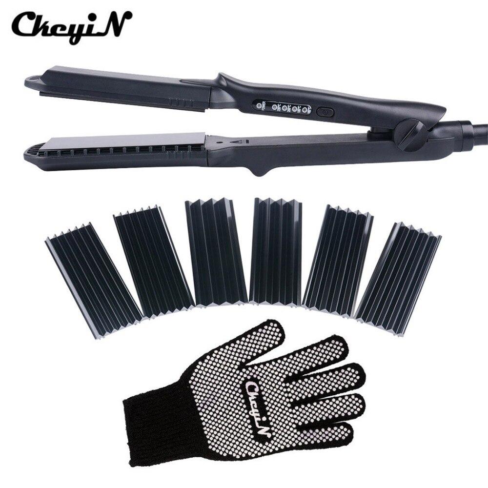 CkeyiN 4In1 Haar Lockenstab + Hitzebeständigen Handschuh Keramik Lockenwickler Roller Elektrische Haarglätter Crimper Well Curl