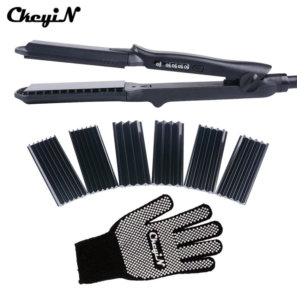 CkeyiN 4In1 Hair Curling Iron+Heat Resistant Glove Ceramic Hair Curler Roller Electric Hair Straightener Crimper Corrugated Curl 15 25mm ceramic bead hair curler roller 110 240v 60w hair curling irons professional ptc heating curl hair style tool with glove