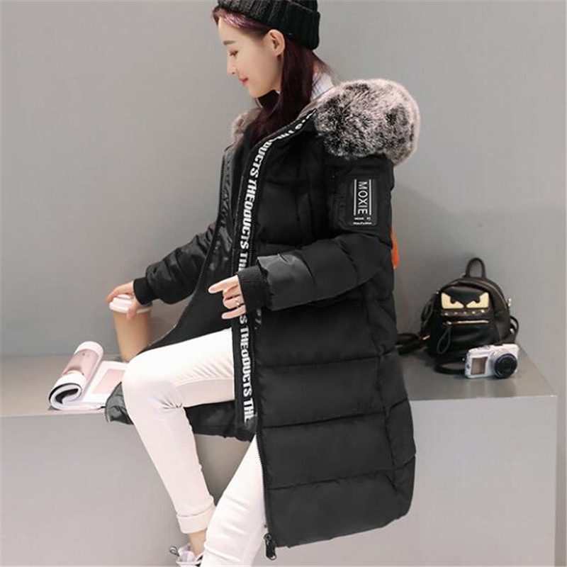 Female Winter Women Jacket Large Faux Fur Cotton Padded Hooded Parka Medium-long Thick OverCoat Warm Wadded Big Parkas TT2604 women winter coat jacket thick warm woman parkas medium long female overcoat fur collar hooded cotton padded coats