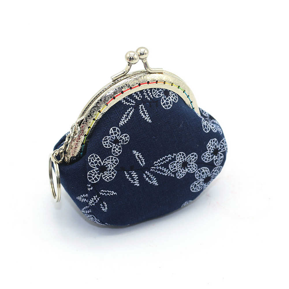 Vintage Lady Small Canvas Flower Kiss Lock Coin Purse Keychain Wallet Mini Bag Porte Monnaie Money Gift