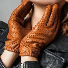 Женские перчатки из натуральной кожи с сетчатыми отверстиями, женские перчатки из натуральной овчины, дышащие перчатки для вождения мотоцикла R797