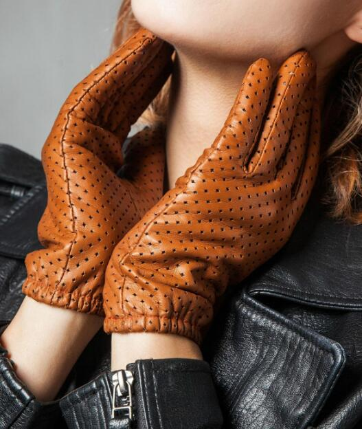 Women's Genuine Leather Mesh Hole Gloves Female Natural Sheepskin Leather Breathable Motorcycle Driving Glove R797