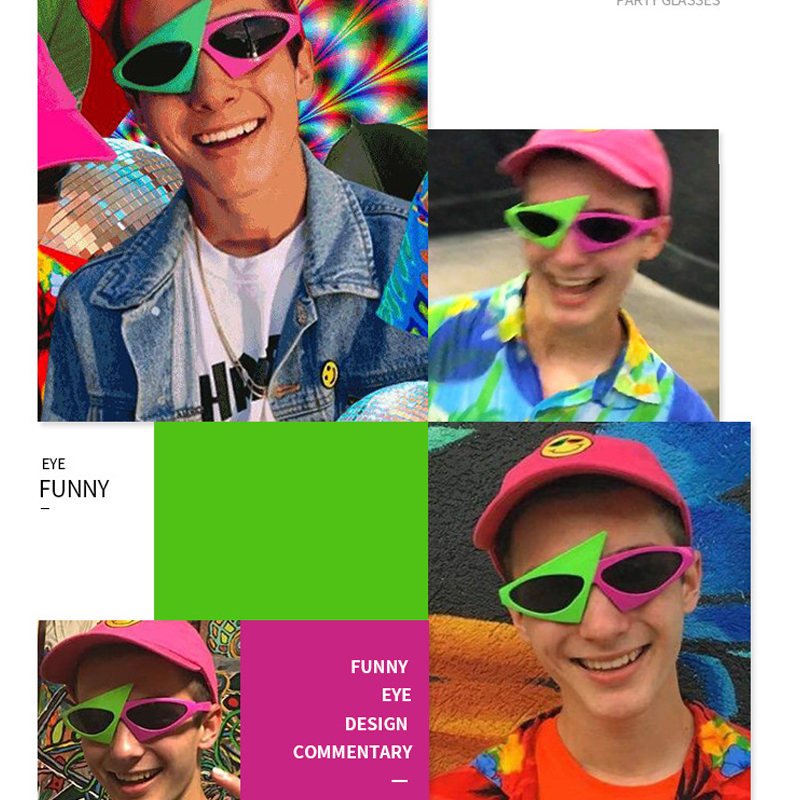 Party Toys For Children Hip-Hop Style Asymmetric Triangular Funny Sunglasses Novelty Green Pink Contrast Color Baby Toys Hat