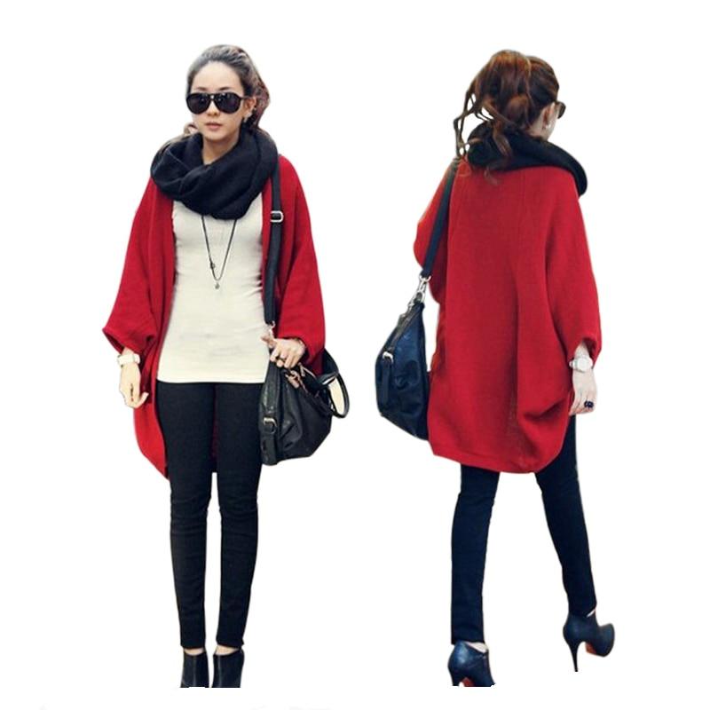 6 Colors Women Loose Shawl Batwing Sleeves Lady Knit Sweater Coat Woolen Women Cardigans Red Black