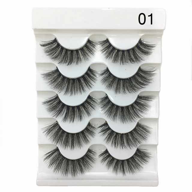 5Pairs New 3D Faux Mink Hair Soft False Eyelashes Fluffy Wispy Thick Lashes Handmade Soft Eye Makeup Extension Tools Wimpers 3
