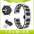 20mm 22mm Venda de Reloj De Cerámica + Acero Inoxidable para Diesel hombres hebilla de cinturón de correa de las mujeres butterfly enlace pulsera de oro negro blanco