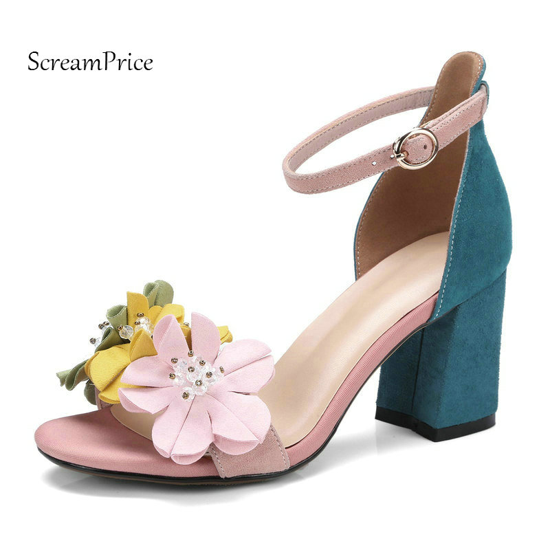 The New Woman Summer Comfort High Heel Open Toe Suede Sandals Fashion Flower Party High Heel Shoes Woman Pink new arrival fashion brown tassel high heel women sandals open toe suede party dress shoes woman size 34 to 42 knot frienge