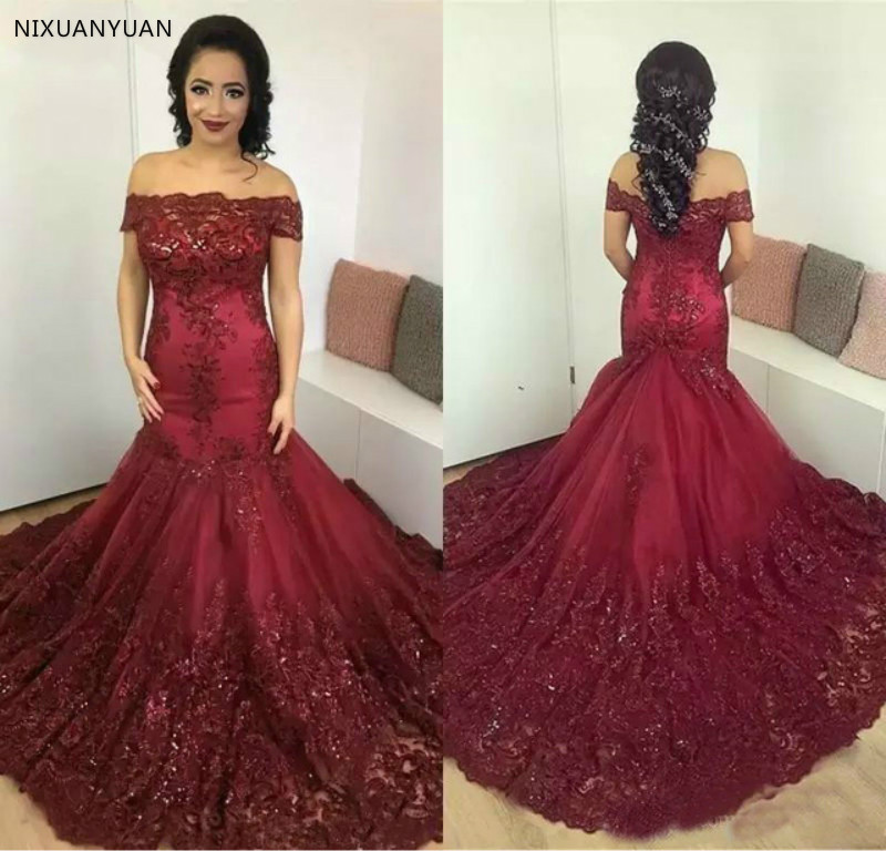 Mermaid Off the Shoulder Tulle Lace Beading Sequins Wine Red Sexy Wedding Dresses 2019 New Fashion Wedding Gowns