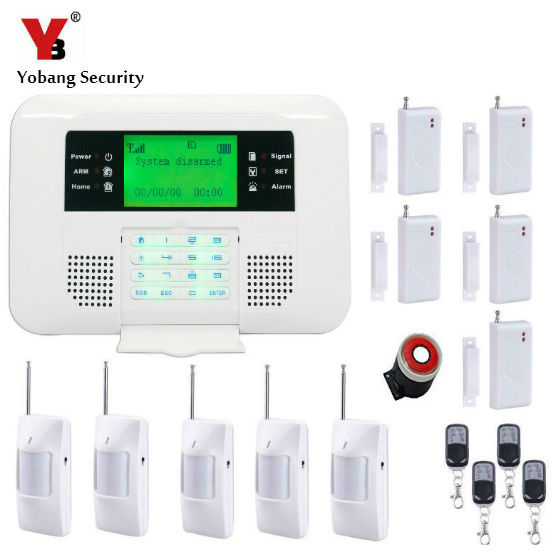 YobangSecurity Wireless Wired GSM PSTN Alarm System Security Home Russian Spanish English Voice 433MHz Door Window PIR Sensor yobangsecurity touch keypad wireless gsm sms smart home security burglar alarm system smoke sensor voice pir motion door window