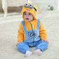 Spring Minion Romper New Born Baby Jumpsuit Clothing Infant 2016 Hooded Unisex Baby Clothes Flannel Toddler Boys Rompers Costume