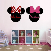 Minnie Mouse Ears Name PERSONALIZED Vinyl Wall Lettering Words Quotes Decals Art Custom For Home 50