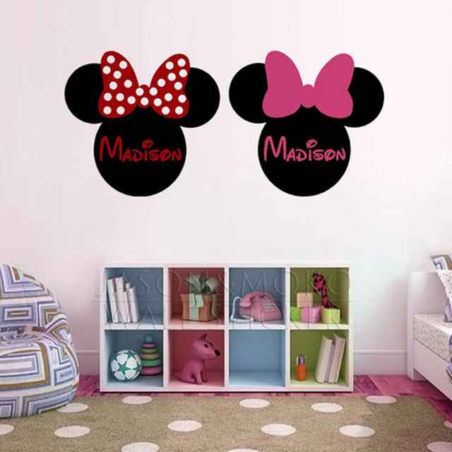 Personalized Customized Name Mickey Minnie Mouse Wallpaper Ear Vinyl Wall Stickers Decal Mural For Baby Kids